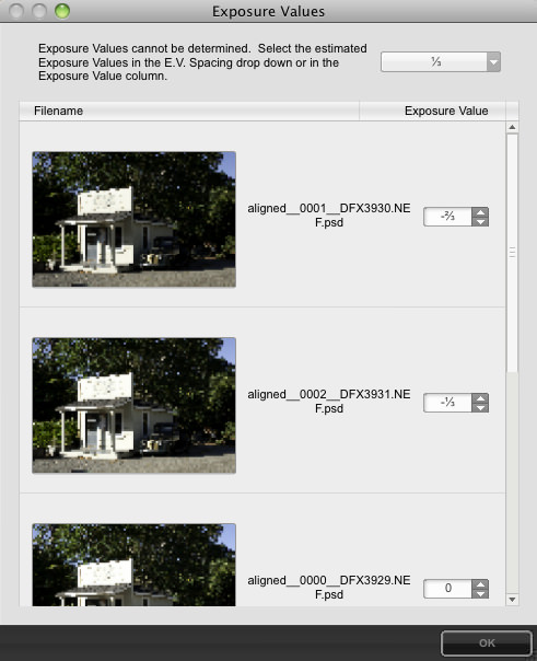 HDR Efex Pro Exposure Settings Dialog