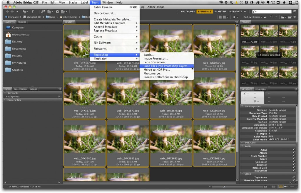 Adobe Bridge, Load Files into Photoshop Layers