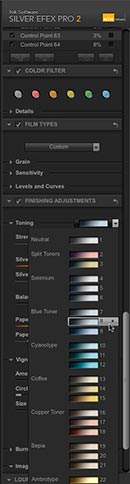 "Selecting the ""Toner 8"" toning preset"