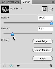 Adjusting the Feather Slider in the Masks Panel