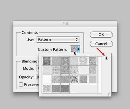 "Clicking on the ""Custom Pattern"" icon (Red Arrow: additional patterns)"