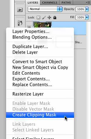 "Selecting the ""Create Clipping Mask"" option"