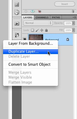 "Selecting the ""Duplicate Layer"" option"