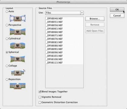 Photoshop's Photomerge Dialog Box