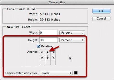 Extending the canvas size.