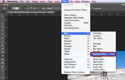 Selecting the Gaussian Blur filter.