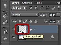 Selecting the layer thumbnail.
