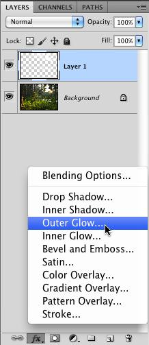 The Outer Glow Filter Style Selection