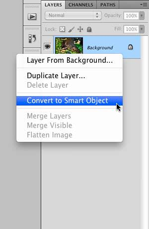 "Selecting ""Convert to Smart Object"""
