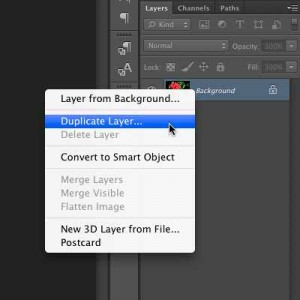 "Selecting the ""Duplicate Layer"" Option."